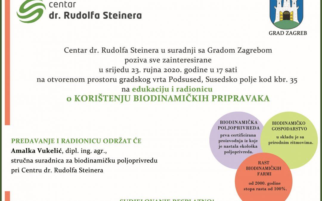 NAJAVA RADIONICE – 23.09.2020. u 17.00 sati, Gradski vrt Podsused