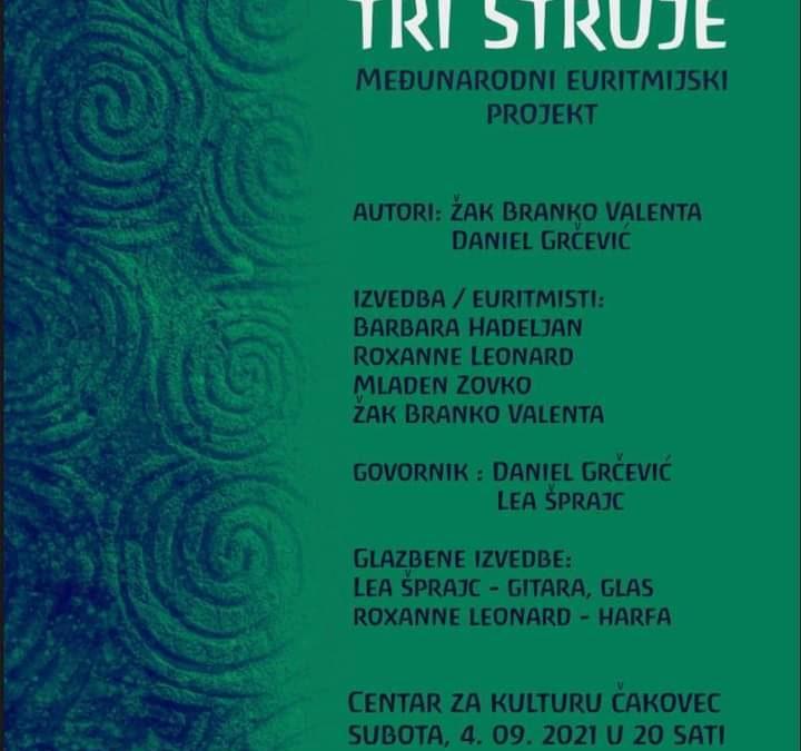 """Izvedba hrvatsko-irskog euritmijskog istraživačkog projekta """"Tri struje"""", Zrinski art festival Čakovec 2021."""